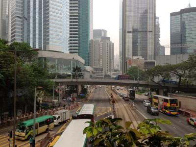 View from a pedestrian skybridge